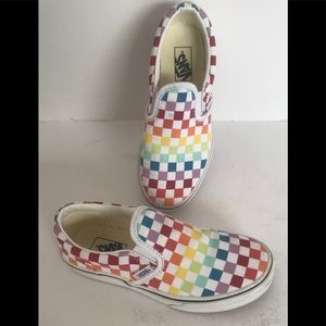 Vans Kids Slip on checkered Rainbow Shoes 6